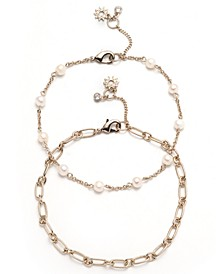 Gold-Tone 2-Pc. Set Freshwater Pearl (5mm) & Chain Link Ankle Bracelets