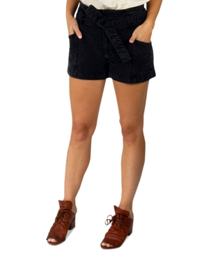 Juniors' Tie-Waist Denim Shorts