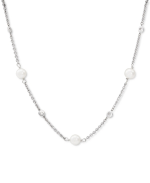 """Cultured Freshwater Pearl (7-7-1/2mm) & Diamond (1/6 ct. t.w.) 18"""" Collar Necklace in Sterling Silver"""