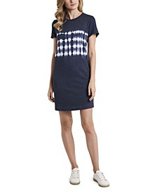 Petite Short Sleeve Striped Tie Dye Knit Dress