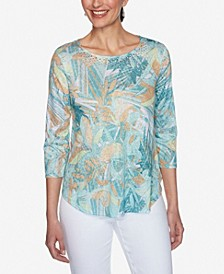 Women's Misses Knit Embellished Floral Top