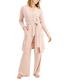 Luxe Ribbed Pajama Top, Pants & Robe, Created for Macy's