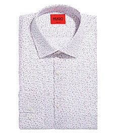 HUGO Men's Mabel Slim-Fit Pink/Blue Splatter-Print Dress Shirt