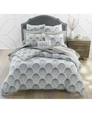 Charter Club Damask Designs 300-thread Count Cotton Sateen 3-pc. Scallop Geo King Duvet Cover Set, Created For Ma In Grey