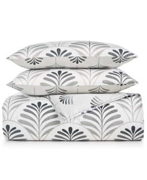 Charter Club Damask Designs 300-thread Count Cotton Sateen 3-pc. Scallop Geo Full/queen Duvet Cover Set, Created  In Grey