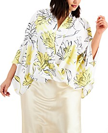 Plus Size Printed Draped Top, Created for Macy's