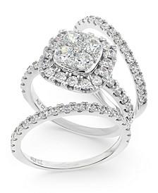 IGI Certified Diamond Cluster 3-Pc. Bridal Set (2 ct. t.w.) in 14k White Gold
