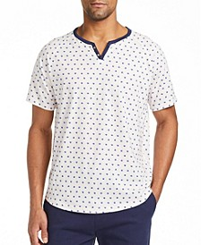 Men's Slim Fit Short Sleeve Henley T-shirt with Free Matching Mask