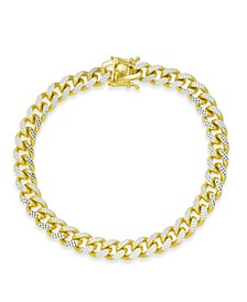 Men's Two-Tone Cuban Link Chain Bracelet in 18k Gold-Plated Sterling Silver and Sterling Silver