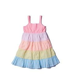 Toddler Girls Color Blocked Seersucker Dress