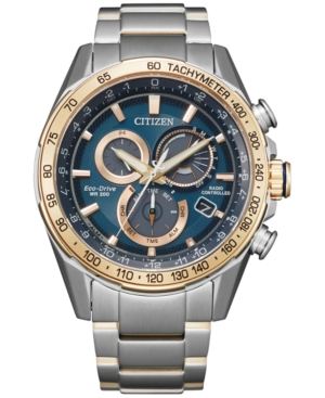 Citizen ECO-DRIVE MEN'S CHRONOGRAPH PCAT TWO-TONE STAINLESS STEEL BRACELET WATCH 43MM
