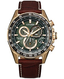 Eco-Drive Men's Chronograph PCAT Brown Leather Strap Watch 43mm