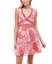 Juniors' Ruffled Printed Shimmer Dress