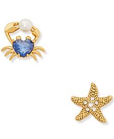 Gold-Tone Cubic Zirconia & Imitation Pearl Heart Crab & Starfish Mismatch Stud Earrings