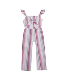 Big Girls Stripe Linen Jumpsuit