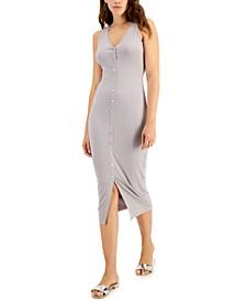 Button-Front Rib-Knit Midi Dress