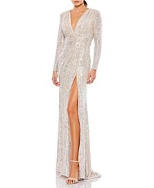 Sequin V-Neck Gown
