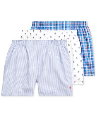 폴로 랄프로렌 Polo Ralph Lauren Mens Woven Cotton Boxers 3-Pack