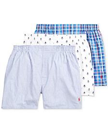 Men's Woven Cotton Boxers 3-Pack