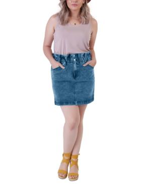 Plus Size Elastic Paper-Bag Waist Denim Skirt