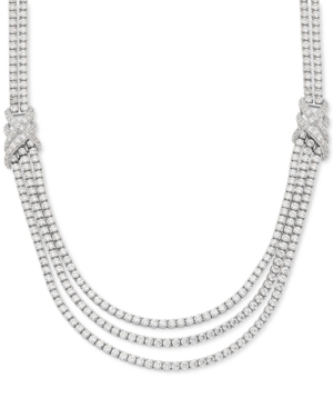 """Cubic Zirconia Triple Strand 18"""" Statement Necklace in Sterling Silver"""