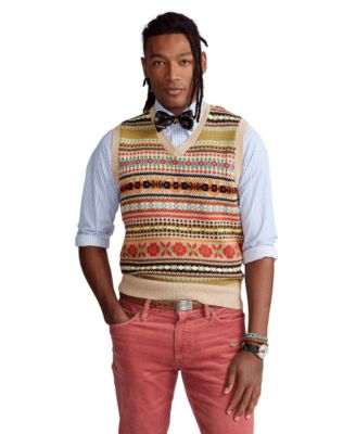폴로 랄프로렌 Polo Ralph Lauren Mens Fair Isle Cotton-Blend Sweater Vest,Multi