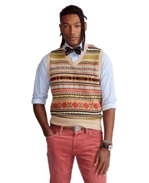 1920s Style Mens Vests Polo Ralph Lauren Mens Fair Isle Cotton-Blend Sweater Vest $246.00 AT vintagedancer.com