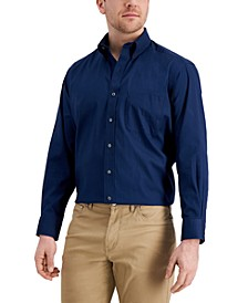 Men's Classic/Regular Fit Performance Stretch Pinpoint Solid Dress Shirt, Created for Macy's