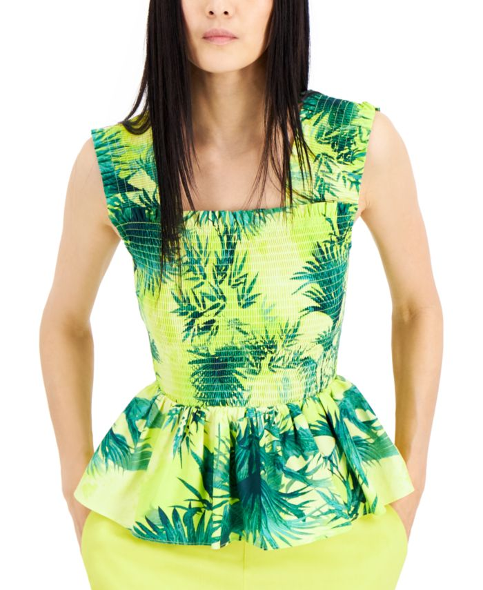 INC International Concepts INC Smocked Cotton Tropical-Print Top, Created for Macy's & Reviews - Tops - Women - Macy's