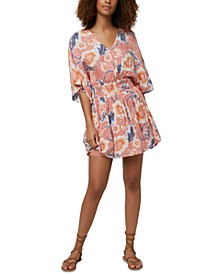 Juniors' Amaze Printed Wrap-Front Dress