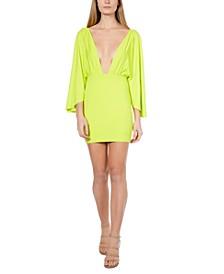 Plunging Wing-Sleeve Mini Dress