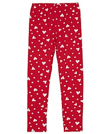 Little Girls Full Length Legging with Allover Hearts and Dot Graphic Print