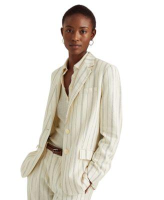로렌 랄프로렌 Lauren Ralph Lauren Striped Linen Twill Blazer,Mascarpone Cream/navy Multi
