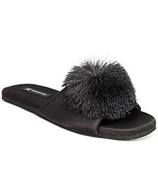 Women's Satin Pom Pom Slide Slippers, Created for Macy's