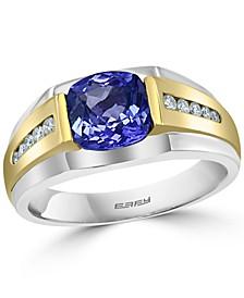 Men's Tanzanite (2-1/4 ct. t.w.) & Diamond (1/5 ct. t.w.) Ring in 14k Gold & 14k White Gold