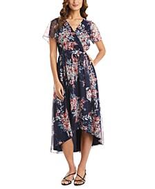 Floral-Print Asymmetrical Mesh Wrap Dress