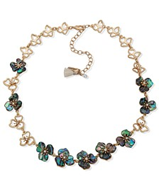"""Gold-Tone Pavé & Mother-of-Pearl Flower Collar Necklace, 16"""" + 3"""" extender"""