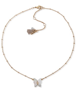 Gold-Tone Mother-of-Pearl Butterfly Pendant Necklace