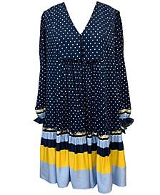 Polka Dot Striped-Hem Dress