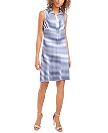 Striped O-Ring Zip-Front Dress