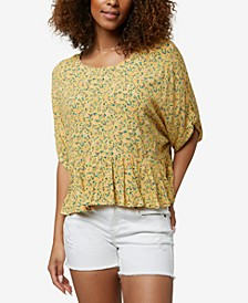 Juniors' Wynde Floral-Print Flounce Top