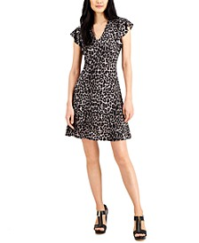 Printed Ruffle-Sleeve Dress, Regular & Petite Sizes