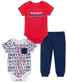 Baby Boys 3-Pc. Logo Bodysuits & Jogger Pants Set