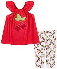 Baby Girls 2-Pc. Flutter-Sleeve Tunic & Cherry Capri Leggings Set