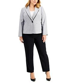 Plus Size Single Button Pant Suit