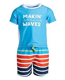 Baby Boys Striped Rash Guard Set, Created for Macy's