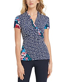 Ruched Patchwork-Print Top
