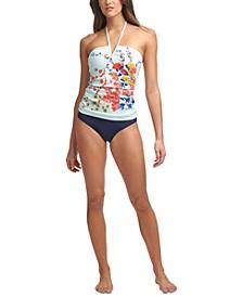 V-Wire Bandeau Halter Tankini Top & Hipster Bikini Bottoms