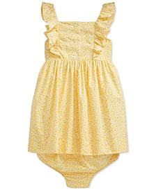 Baby Girls Ruffled Cotton Dress & Bloomer Set