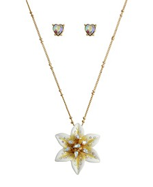 Lily Flower Pendant Necklace Heart Stud Earrings Set